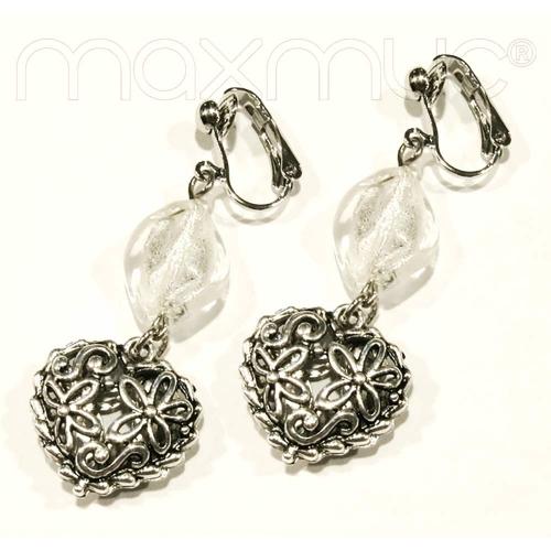 Silberfarbene Herz Ohrhänger mit transparenter Glasperle - Trachtenschmuck Dirndlschmuck