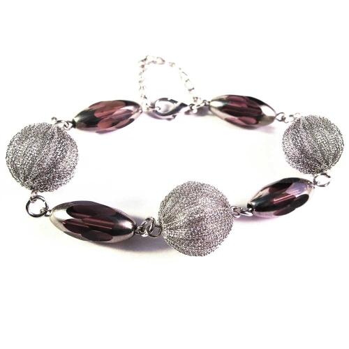 Lila Armband / Armkette mit Kristallglasperlen und Drahtperlen - Glasschmuck