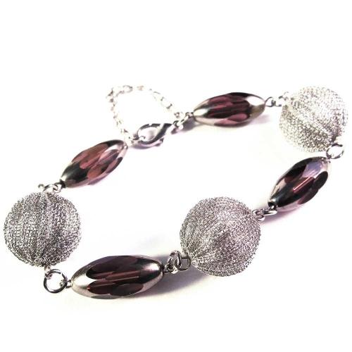 Amethystfarbenes Armband mit Glasperlen und Drahtperlen - Glasschmuck