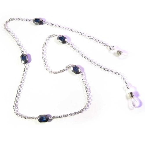 Hellsilberfarbene Brillenkette mit blauen Glasperlen