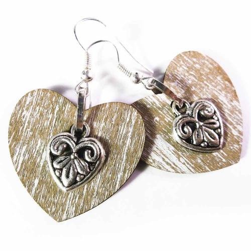 Trachtenherz Ohrringe aus hellbraunem Holz und filigranem Silberherz - Trachtenschmuck Dirndlschmuck