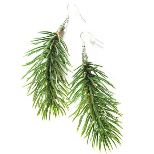 Ohrhänger / Ohrclips für Weihnachten mit Tannenzweigen - weihnachtliche Ohrhänger