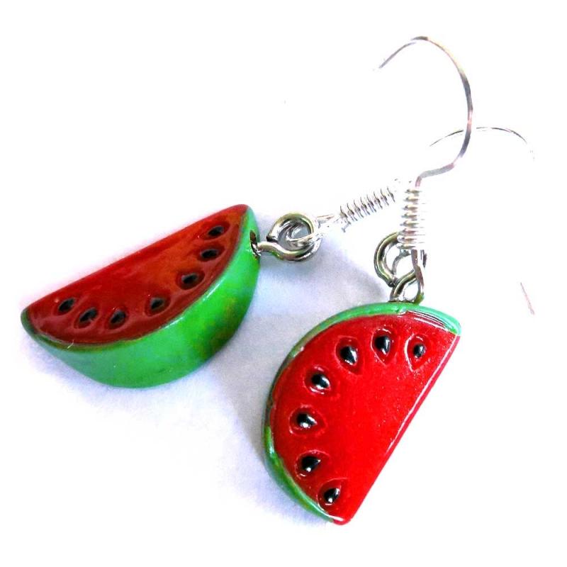 Rot grüne Wassermelonen Ohrringe mit kleinen grünen Blättchen - bunter Sommerschmuck