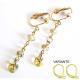 Goldfarbene Ohrhänger / Ohrclips mit champagnerfarbenem Glas - Lange Ohrhänger aus Glas