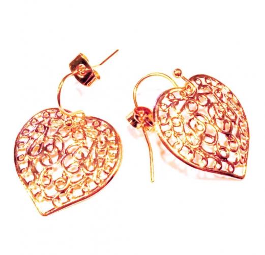 Filigrane Herz Ohrringe in rosegoldfarben - Trachtenschmuck D