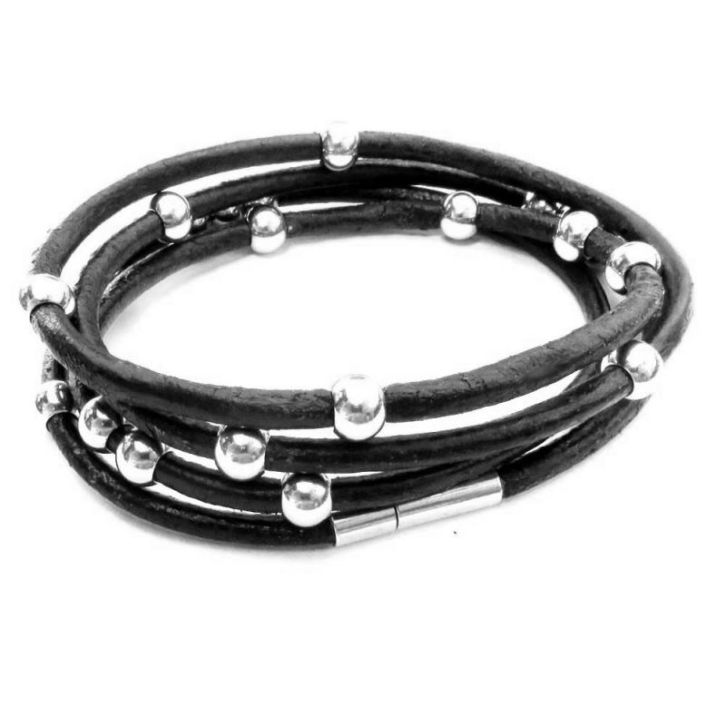 Schwarzes Wickelarmband aus Leder mit Magnetverschluss aus Rindsleder - Lederarmband
