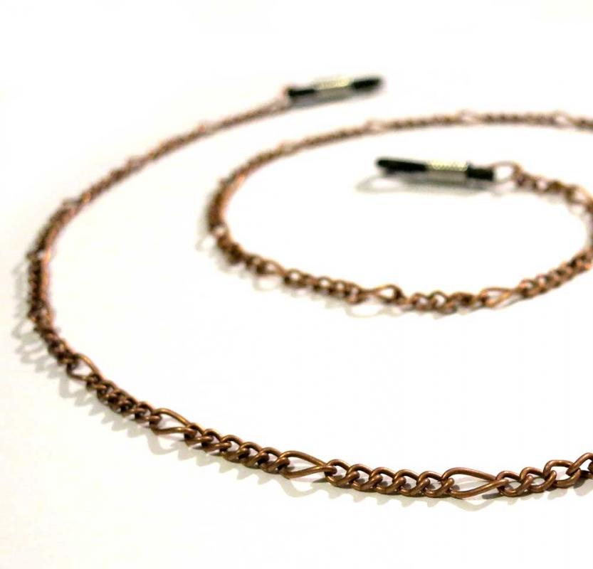 Kupferfarbene Brillenkette aus Figarokette - Accessoire Brillenkette