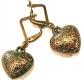 Leichte kleine bronzefarbene Herz Ohrhänger Trachtenherz Ohrringe aus Acryl - Dirndlschmuck