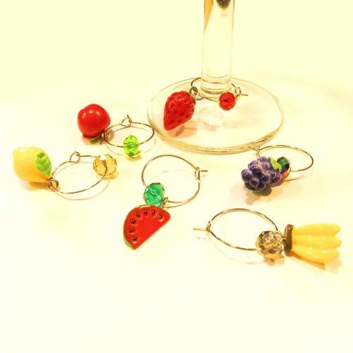 6 bunte Weinglasringe mit bunten Obstmotiven - Party Tischdeko
