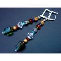 Bunte Ohrhänger / Ohrclips 7,4cm mit Glas- und Metallperlen - bunter Glasschmuck
