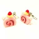 Rosa Sahnetorten Ohrhänger an Edelstahlhaken - bunter Sommerschmuck