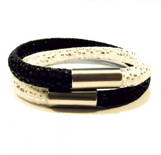 Schwarz weißes Kunstleder Armband mit Edelstahl Magnetverschluss und mit Glitzerpunkten - Veganes Lederarmband