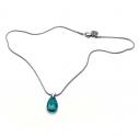 Kurze Edelstahl Halskette mit Glastropfen in petrolfarben - Edelstahlschmuck