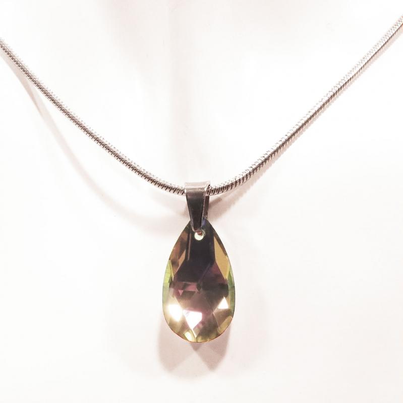 Kurze Edelstahl Halskette mit Glastropfen in topazfarben - Edelstahlschmuck