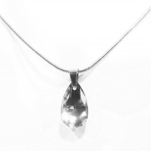 Kurze Edelstahl Halskette mit Glastropfen in transparent und silber - Edelstahlschmuck