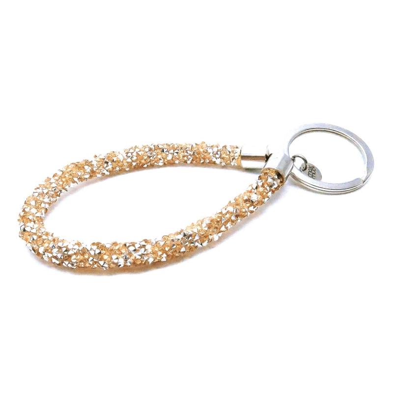 Rosegoldfarbener glitzer Schlüsselanhänger mit Edelstahl