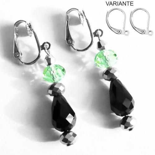 Grün schwarz silberfarbene Ohrhänger / Ohrclips aus geschliffenem Glas