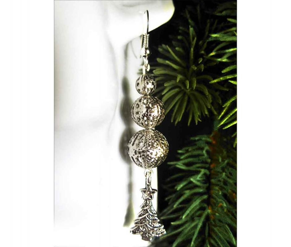 Lange Weihnachtsbaum Ohrhänger silberfarbene Ohrringe für Weihnachten