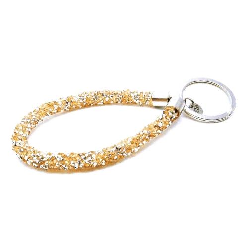 Goldfarbener Glitzer Schlaufen Schlüsselanhänger mit Edelstahl