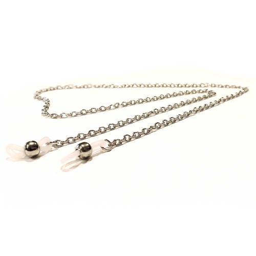 Silberfarbene Brillenkette mit ovalen Ösen - Accessoire Brillenkette
