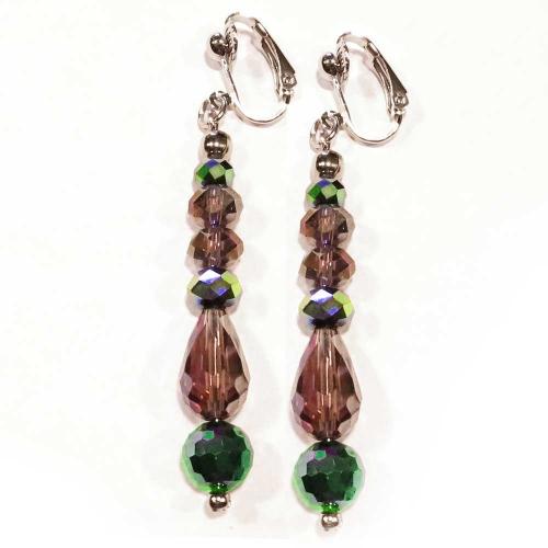 Grün- amethystfarbene Ohrhänger / Ohrclips aus geschliffenem Glas