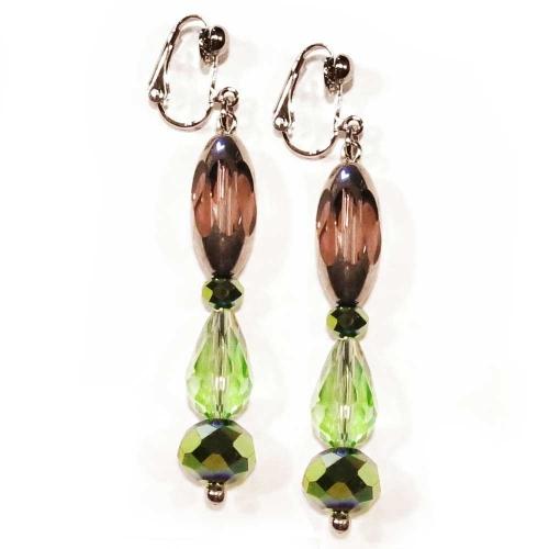 Grün- amethyst- silberfarbene Ohrhänger / Ohrclips aus geschliffenem Glas