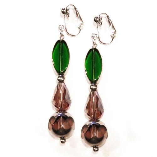 Barocke Ohrhänger / Ohrclips in grün und amethystfarben aus Glas