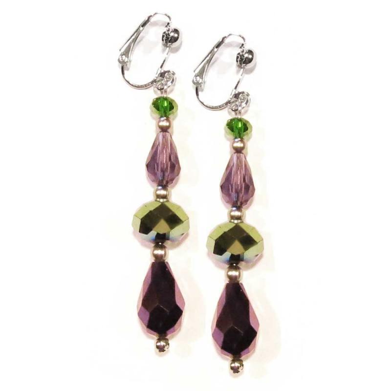 Grüntönige amethystfarbene Ohrhänger / Ohrclips aus Glas