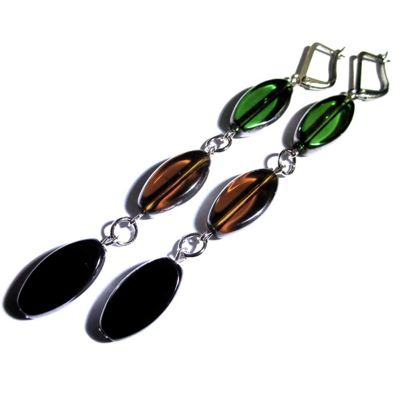 Lange braun grün schwarze Ohrhänger aus Kristallglas - Glasschmuck