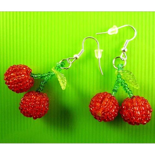 Rot Grüne Kirschen Ohrhänger - bunter Sommerschmuck