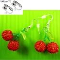 Rot Grüne Kirschen Ohrhänger Ohrclips - bunter Sommerschmuck
