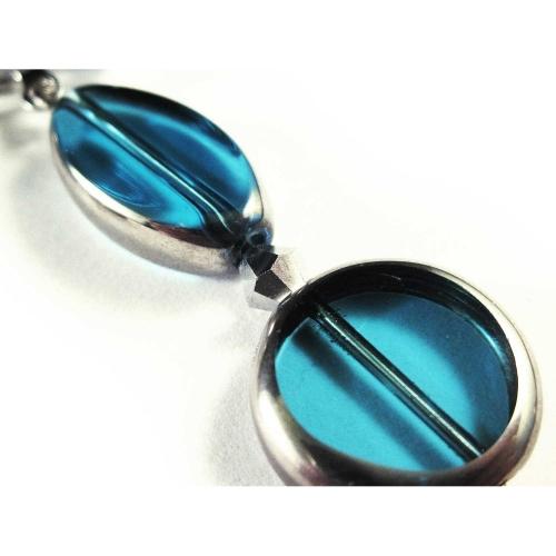 Türkis Ohrclips Ohrhänger aus Kristallglas mit Silberrahmen