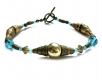Gold bronze Schmuckset mit türkis aus Ohrringen Halskette und Armband - Bronze Schmuckset