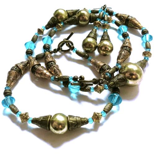 Gold- bronzefarbenes Schmuckset mit türkis - Schmuckset