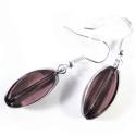 Lila Ohrhänger aus Glas mit silberfarbenem Rand - Glasschmuck
