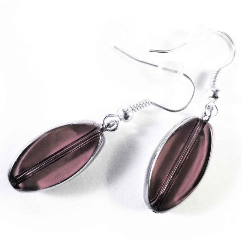 Kurze lila / violettfarbene Ohrhänger aus Kristallglas mit Silberrahmen - Glasschmuck