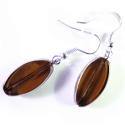 Braune Ohrhänger aus Glas mit silberfarbenem Rand - Glasschmuck