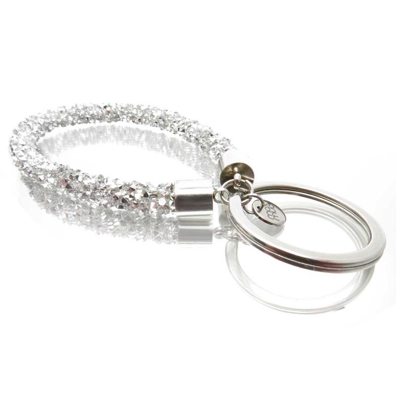 Silberfarbener glitzer Schlüsselanhänger mit Edelstahl