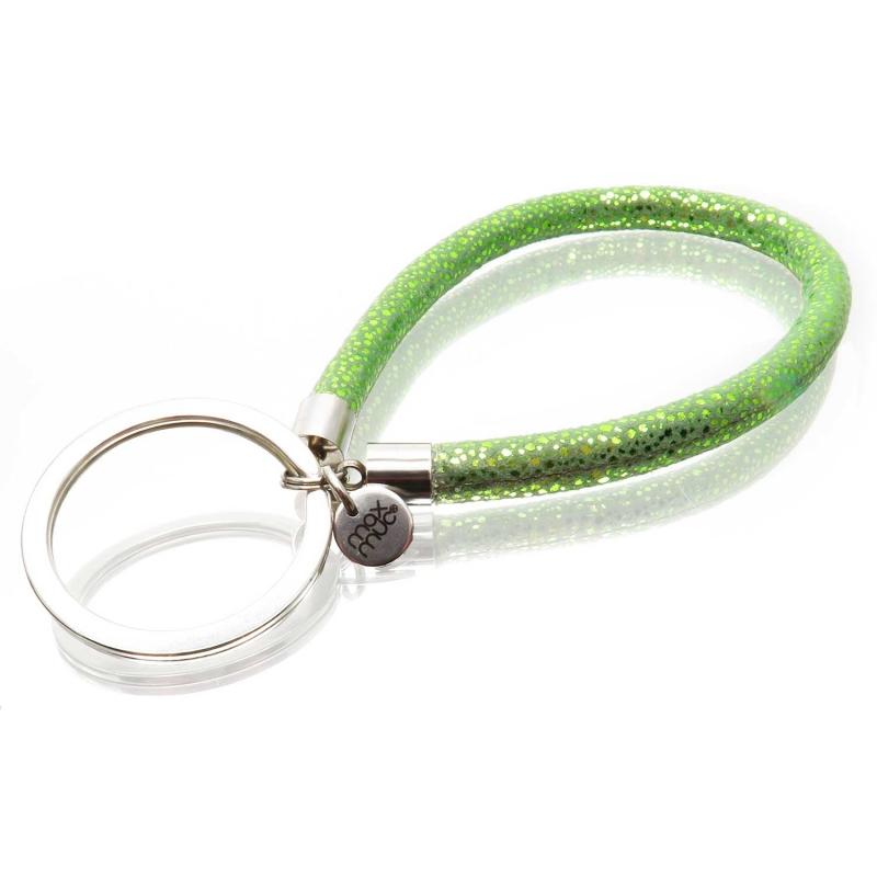 Smaragdgrüner glitzer Schlüsselanhänger mit Kunstleder und Edelstahl