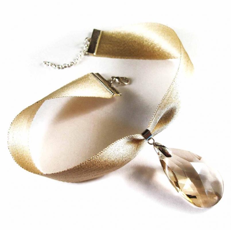 Goldfarbenes Kropfband mit geschliffenem Glastropfen - Trachtenschmuck Dirndlschmuck