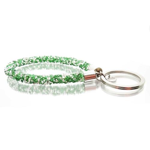 Smaragdgrüner glitzer Schlaufen Schlüsselanhänger mit Edelstahl