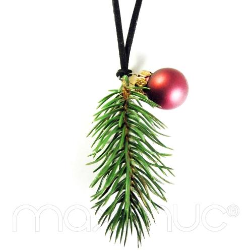 Weihnachtliche Kette mit grünem Tannenzweig und Christbaumkugel - Lange weihnachtliche Kette
