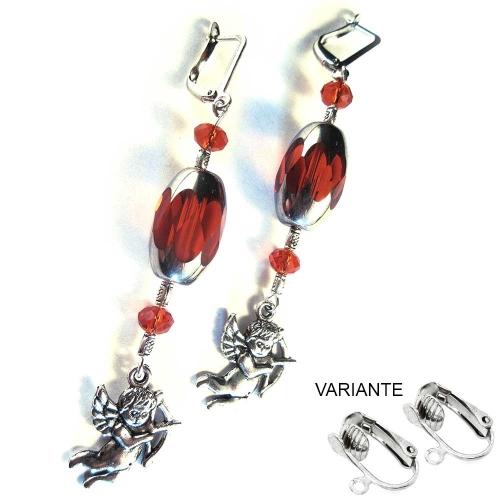 Ohrhänger 'Rotes Engelchen' Silber und rote Ohrringe mit Engelsanhänger