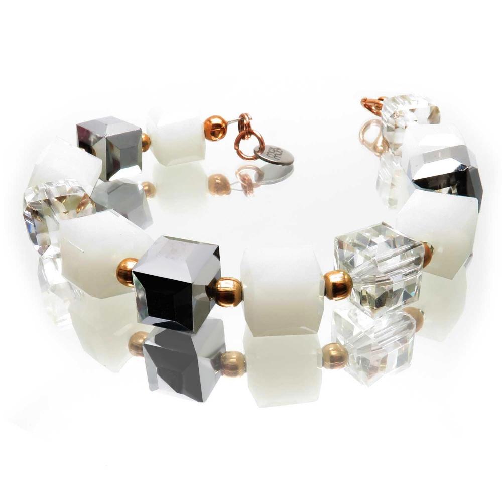 Armband mit Würfel Glasperlen in weiß, transparent und silberfarben - Glasschmuck