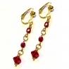 Goldfarbene Ohrhänger / Ohrclips mit rotem Glas - Lange Ohrhänger aus Glas