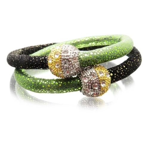 Grün schwarzes Kombi Kunstleder Armband mit Strass Magnetverschluss - Veganes Lederarmband