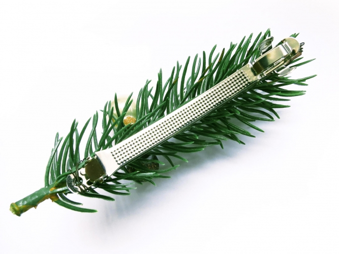 Weihnachts Haarspange mit grünen und roter Kugeln und Tannenzweig - Weihnachten Haarschmuck