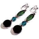 Lange schwarz grüne Ohrhänger aus Glas
