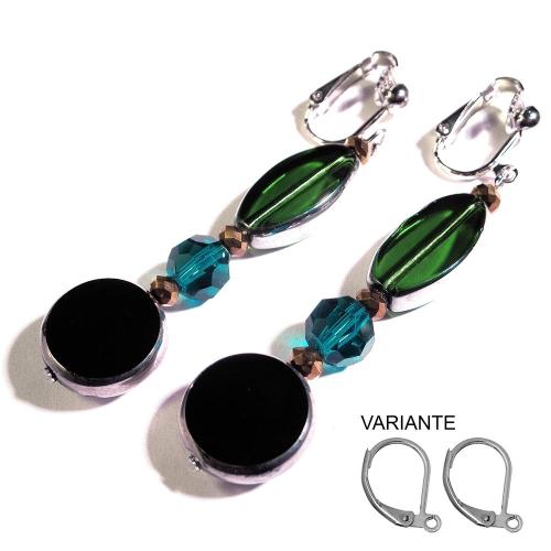 Lange schwarz grüne OhrCLIPS Ohrhänger aus Kristallglas