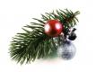 Haarspange Weihnachten mit Tannenzweig und roter Kugel - Weihnachten Haarschmuck